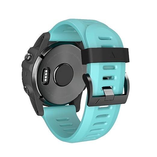 MYQyiyi Color Puro Correa de Silicona de Reloj para Garmin Fenix 5X Plus: Amazon.es: Relojes