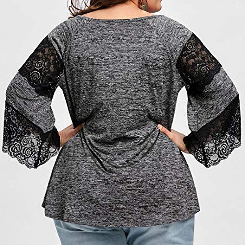 Shirt O Gris Longues en Manches Tops Femme Grande Blouse Gris Dentelle Taille Patchwork Lolittas T Neck fUqHR
