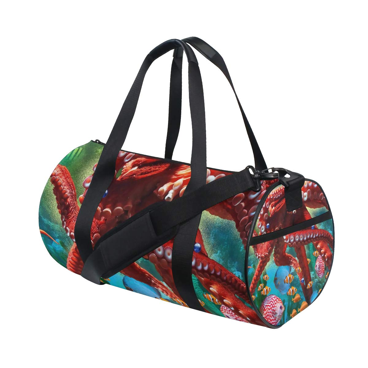 Travel Weekender Duffel Bag for Man and Woman Gym Bag with Fantasy Seascapes Octopus Nautical Print
