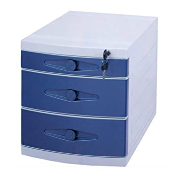 Met Love Gabinete de Archivo con Cerradura 3 Capas de Almacenamiento de plástico Archivadores de Escritorio (Color : Blue): Amazon.es: Electrónica