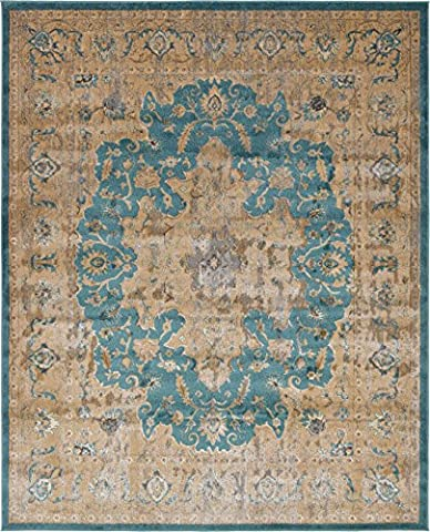 A2Z Rug Teal 8' x 10' FT St. Martin Collection Area rug - Vintage Inspired Overdyed Perfect for Living Dinning Room and Bedroom Rugs, Interior Modern Floor Carpet Design