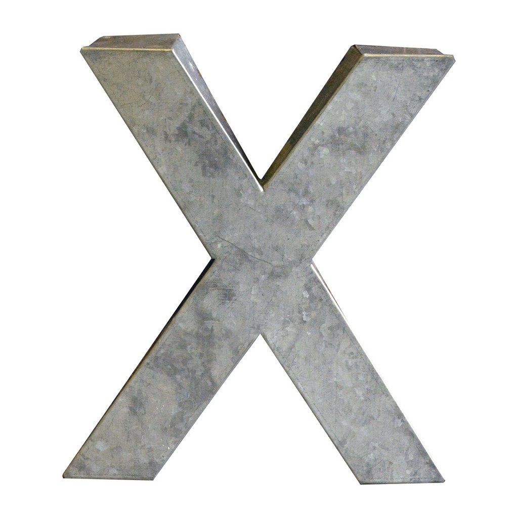Modelli Creations Alphabet Letter X Wall Decor, Zinc