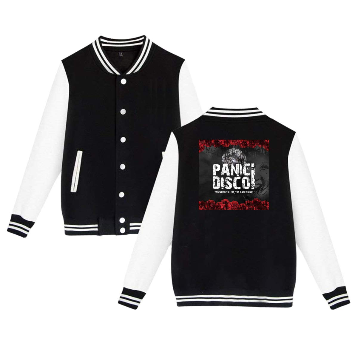 Rmoye Panic at The Disco Unisex Baseball Uniform Jacket Sweater Coat Sweatshirt
