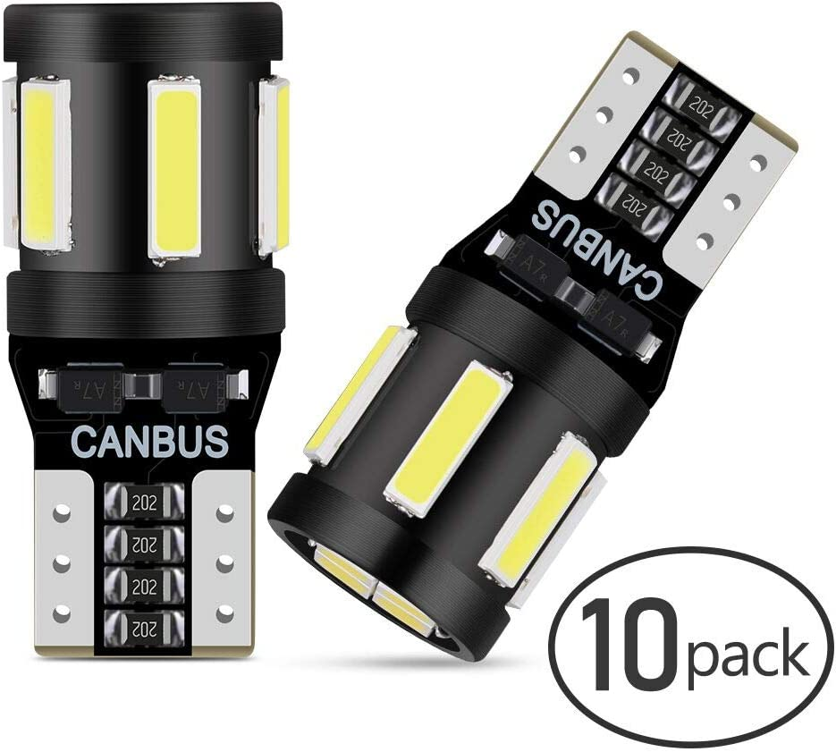 Anpro 10 PCS T10 LED Canbus Bombillas,T10 W5W LED Blanco Super Brillante W5W T10 194 168 2825 158 175 7020-6+4WFPC CANBUS 6000K,Luz Blanco para Coche