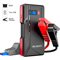 Suaoki P6 - Arrancador de Coche 800A, Jump Starter para Coches Hasta 6.0L Gas o 5.0L Diesel, 12V Batería (Pantalla LCD, Dual USB Salidas, LED, Cable de Pinzas Inteligentes con Múltiples Protecciones)