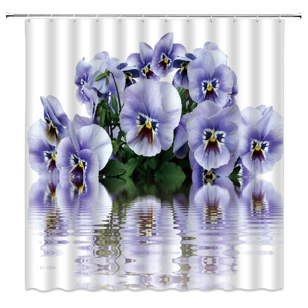 dachengxing Pansy Floral Shower Curtain Modern Home Decor Periwinkle Flower Aromatic Bouquet with Silhouette on Water Ripple Romance for Girl Woman,Waterproof White Fabric Hooks Included 70x70 Inch