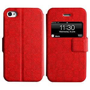 LEOCASE Cráneo Rojo Funda Carcasa Cuero Tapa Case Para Apple iPhone 4 / 4S No.1001969