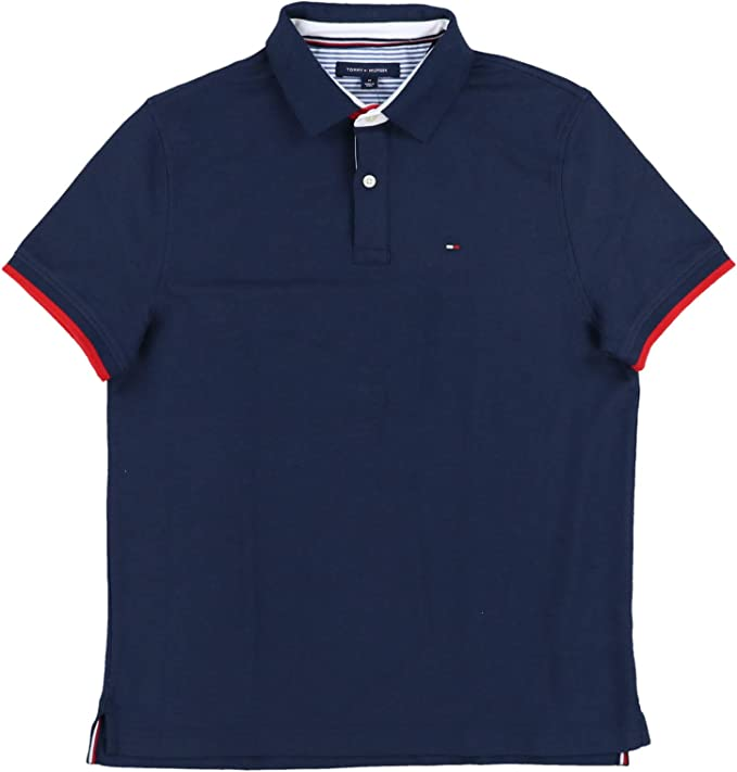 Tommy Hilfiger Polo Shirt Mens Performance Wicking Uv Protection Pique Striped