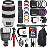 Canon EF 70-300mm IS USM Lens + Flash + 6PC Graduated Filter Set + LED Kit + Stabilizing Handle + UV-CPL-FLD Filters + Macro Filter Kit + 72 Monopod + Lens Hood + 64GB Class - International Version