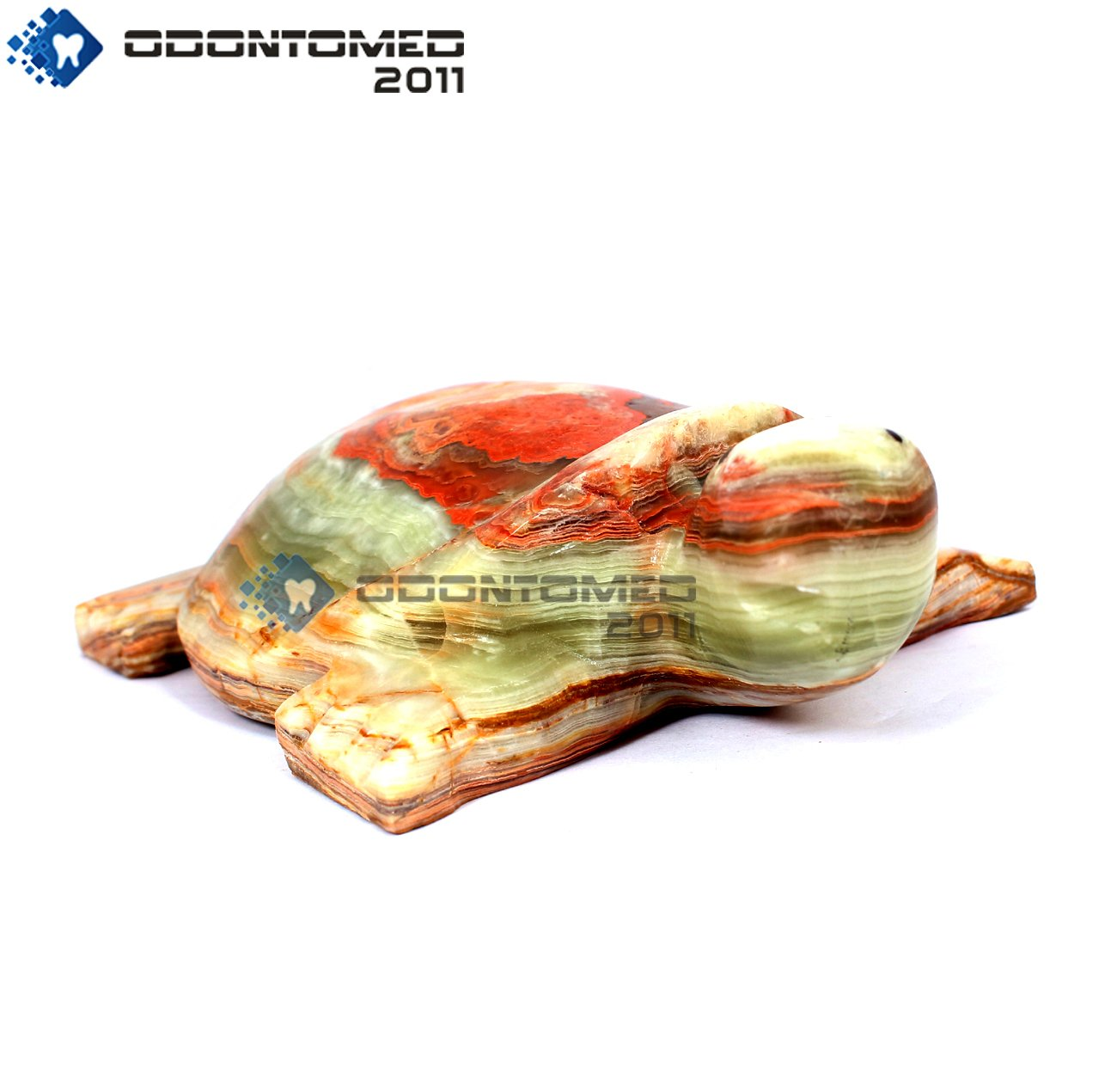 OdontoMed2011 Turtle Multi Color 6'' Onyx Marble Hand Curved Animal Decorative Beautiful