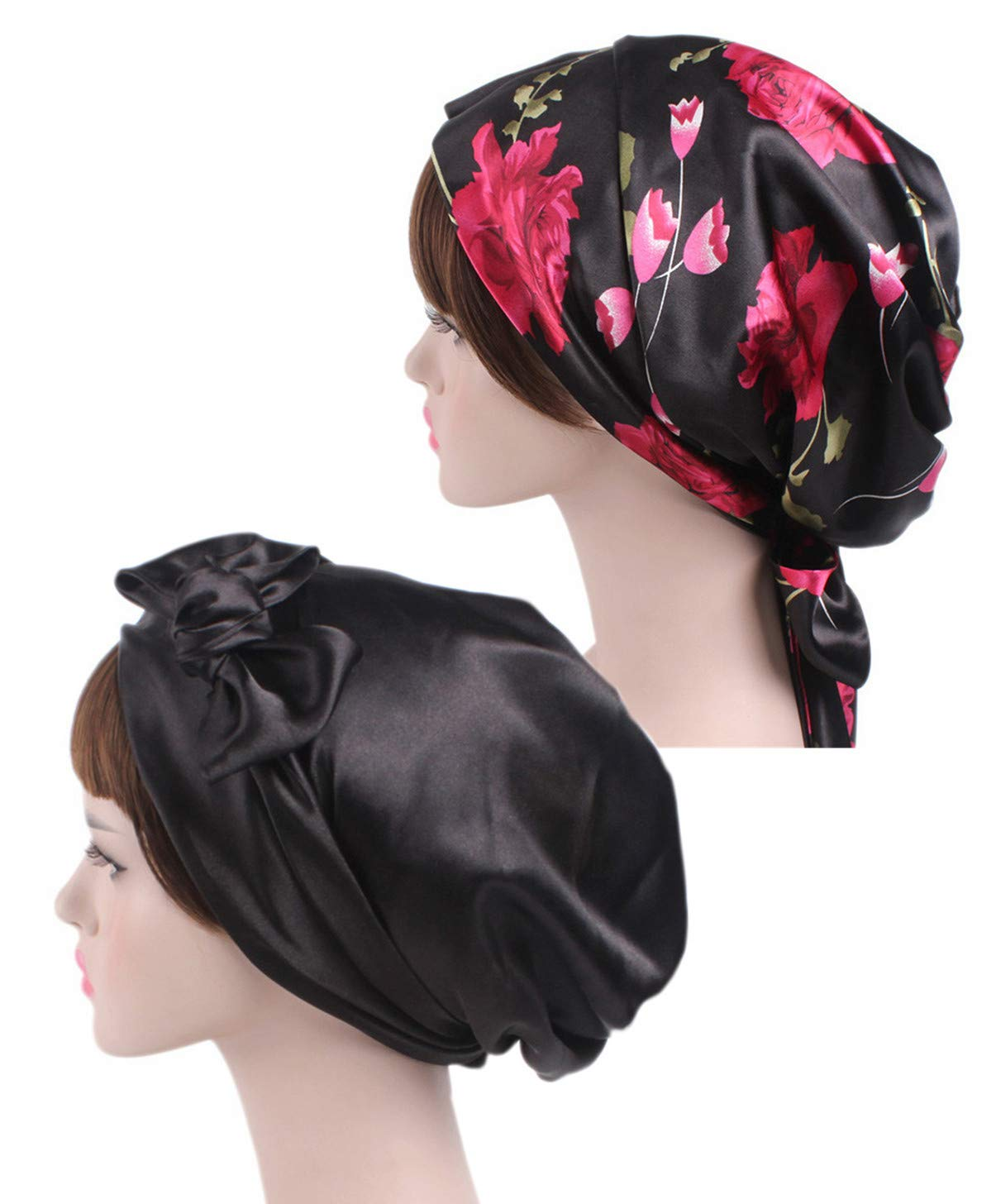 Satin Silk Hair Head Scarf - Floral Women 2 Packs Bonnet Night Sleeping Cap Chemo Hat Salon Soft Satin Patient Sleep Slouch Slouchy For Long Curly Natural