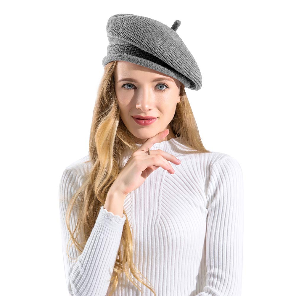 BAVST Lady Knit Hats Women's Classic French Beret Solid Color Crochet Beanies for Girls (Light Grey)