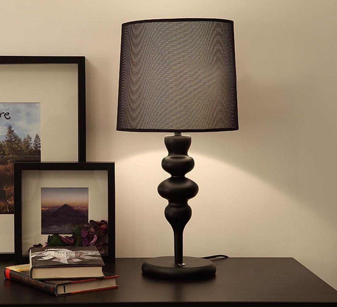 OOFWY E27 Einfache Tischlampe Europäische Moderne Stil Schlafzimmer Wohnzimmer Hotel Dekoration Kreative Eisen Lampe, b