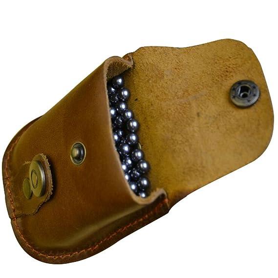 QZY Mini Brown Armbrust Funseries Slingshot Zubeh/ör Ball Paket Echtes Leder Bas F/ür Jagd Edelstahl Balls Tasche Holster