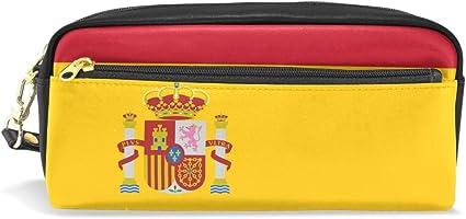 Eslifey - Estuche de piel sintética para lápices y cosméticos, impermeable, diseño de bandera de España: Amazon.es: Oficina y papelería