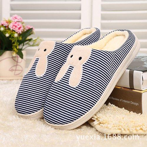 Y-Hui pantofole di Cotone Cotone d'inverno antiscivolo Home pantofole, casa calda ciabattine,3839,blu navy