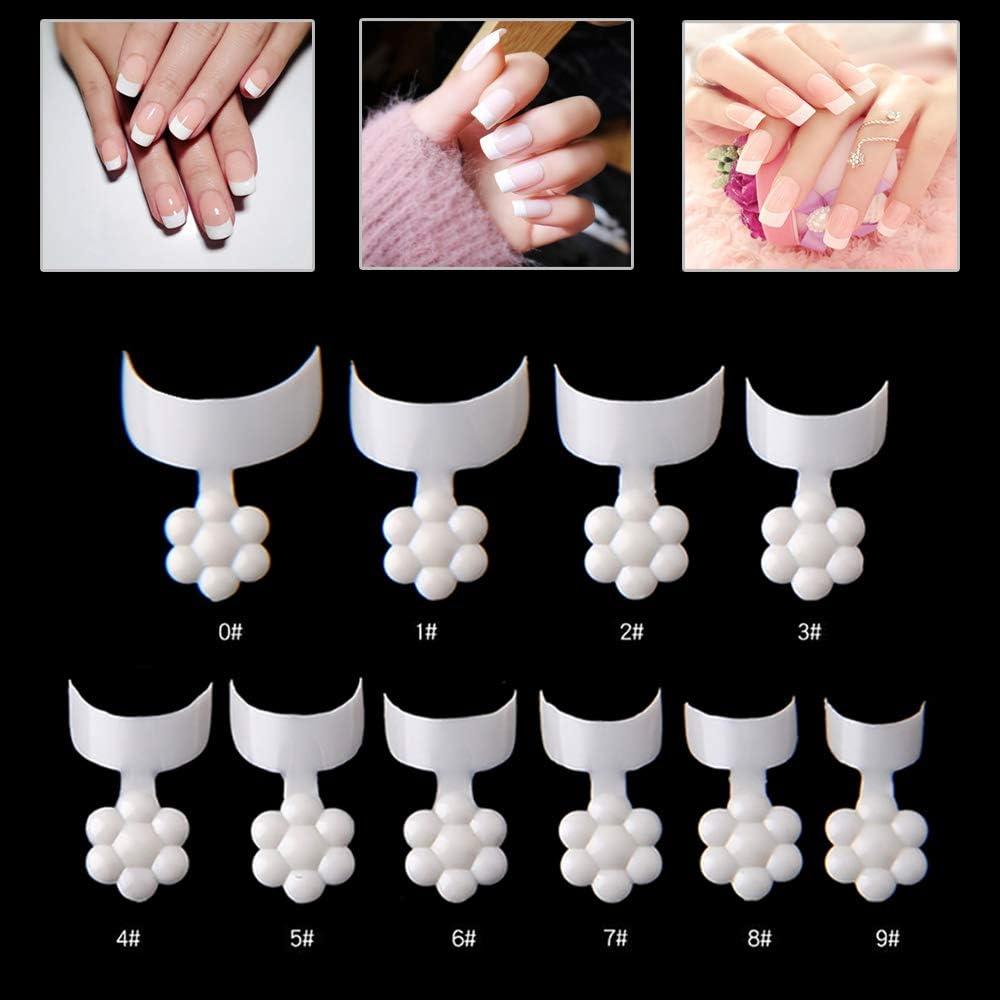Mwoot 500 Piezas Puntas de Uñas Postizas, Crescent Shape Short Nail Tips, francesa Falsas Acrílico Uñas Postizas para Manicura y Diseños Uñas DIY, 10 Tamaños (Blanco)