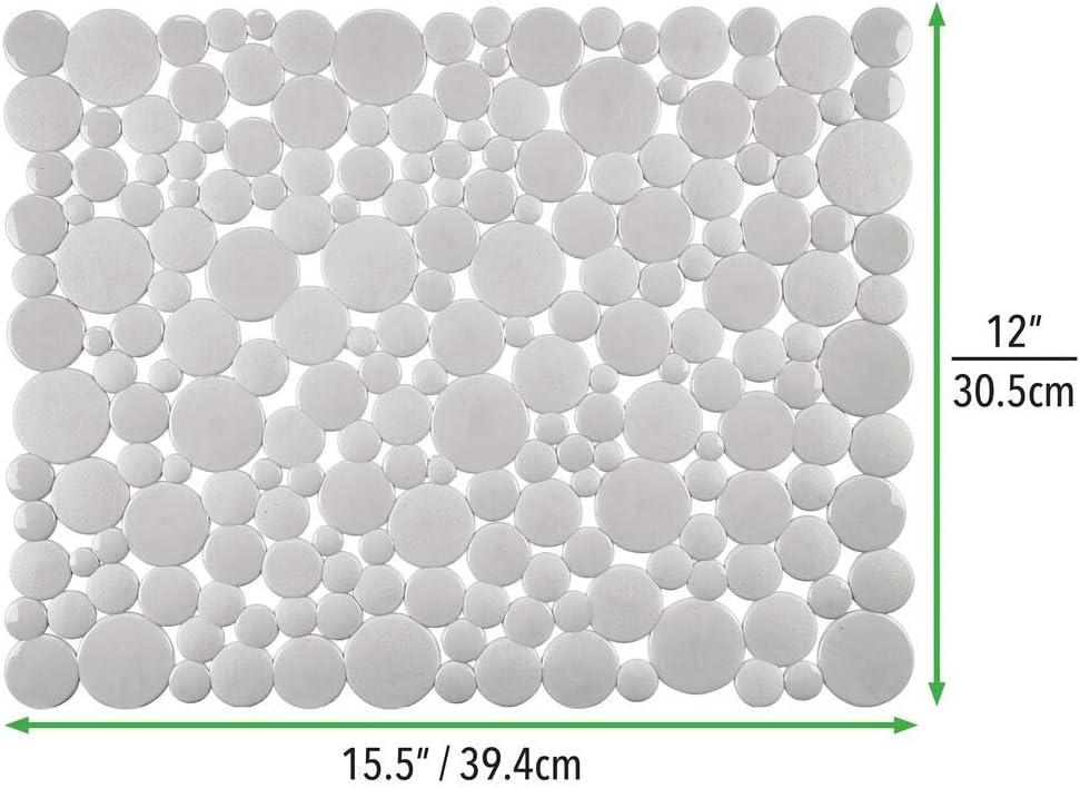 grigio chiaro mDesign Set da 2 Tappetini per il lavandino ritagliabili su misura Tappetino protettivo in pvc Ampio tappetino lavello con motivo a bolle di sapone