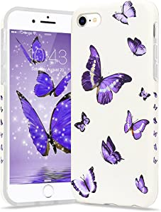 Urarssa Girls Case for iPhone SE 2020 Case iPhone 7 Case iPhone 8 Case Cute Butterfly Pattern Design for Girls Women Shockproof Soft TPU Rubber Silicone Protective Cover for iPhone 7/8/SE2020, Purple