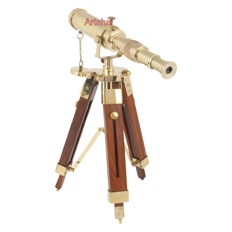 PIRU Small 9 inch Size Brass Telescope with Tripod Stand. Desk Decor and Home Decor Item Decorative Showpiece - 15 cm (Brass, Gold, Brown)
