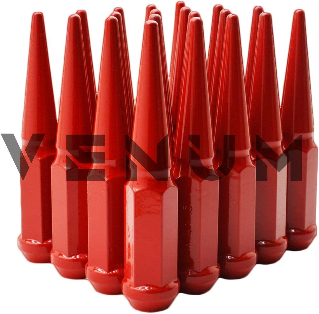 Venum wheel accessories 20 Pc M14x1.5 Gloss Red Spike Lug Nuts 4.5 Tall Compatible With2011-2020 Jeep Grand Cherokee JL Sahara 2020 Gladiator W//Aftermarket Wheels Powder Coated