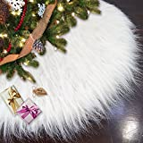 Ivenf 48'' Luxury Snow White Christmas Tree Skirt Thick Plush Faux Fur Large Size Holiday Decorations