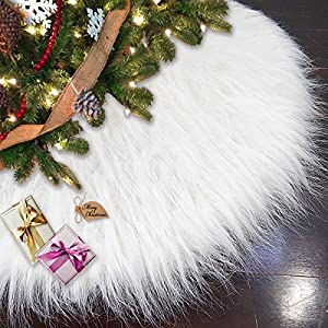 Ivenf 48 Luxury Snow White Christmas Tree Skirt Thick Plush Faux Fur Large Size Holiday Decorations
