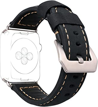 For Apple Watch Band 38MM Leather, Rosa Schleife Replacement iWatch Series 3 Bands 38mm Smart Watch Band with Stainless Steel Clasp for Apple iWatch ...
