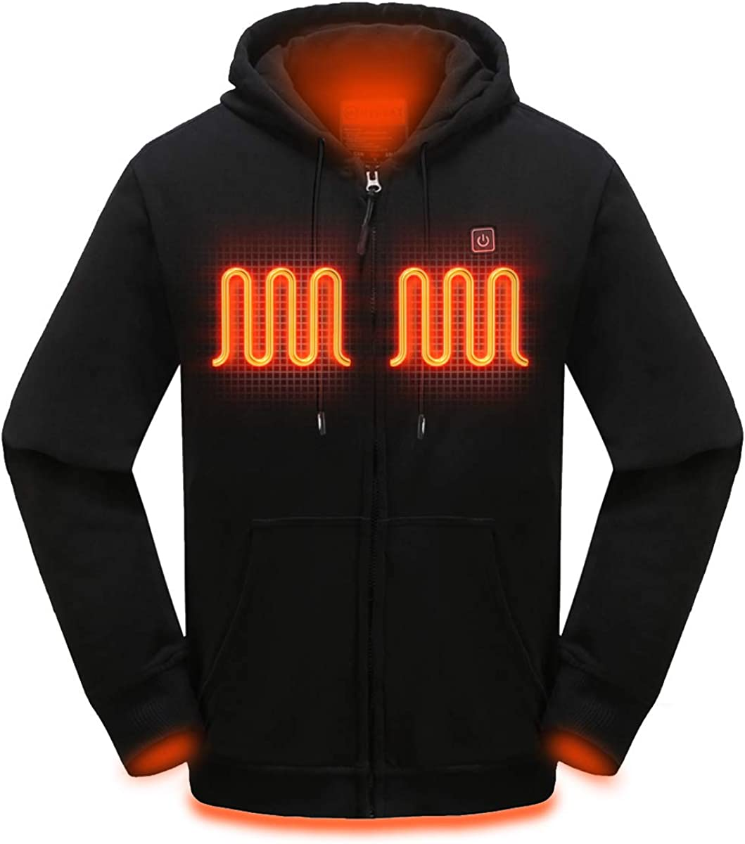 MYHEAT Heated Hoodie for Men Electric Sweater Heavyweight Fleece Sweatshirt with Battery