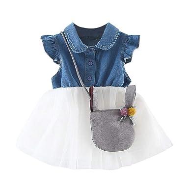 08475ed9c341c Amazon.com: Denim Tutu Dress for Newborn Baby Girls HANANei Jeans ...