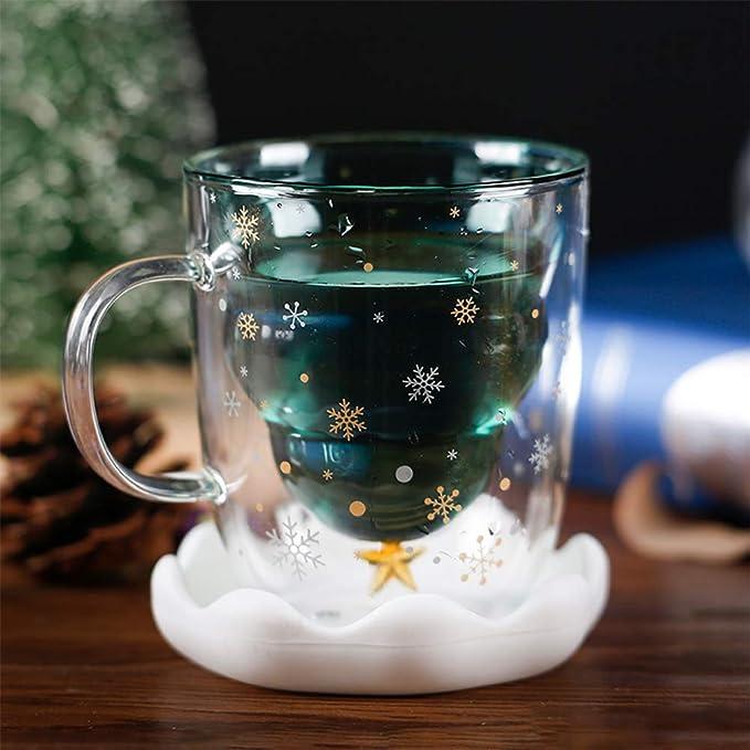 con albero di Natale style :A caff/è Vetro vetro borosilicato Fnsky a doppio strato per bambini e adulti tazza da t/è Tazza in vetro a doppia parete