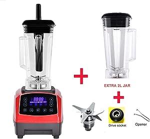 Automatic Digital Smart Timer Program 2200W Heavy Duty Power Blender Mixer Juicer Food Processor Ice Smoothie Bar Fruit,Red jar full parts