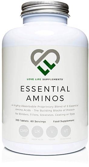 LLS aminoácidos esenciales (EAA) | 300 pastillas / 60 porciones | 5-10g por porción | 8 aminoácidos esenciales absorbibles | Producido en el Reino Unido con ...