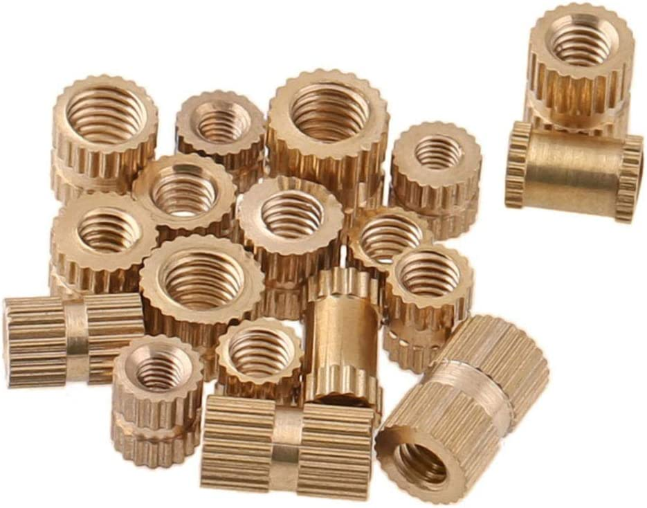 M1.42.53//100 Pieces Brass Threaded Insert Round Nut Injection Moulding Cylinder Knurled Nuts XFentech 100PCS M1.4 M1.6 M2 M2.5 Female Knurled Threaded Insert Nuts
