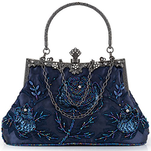 - Women Clutch Evening Bag Elegant Classic Shoulder Bag Luxurious Handbag Purse (Blue AA)