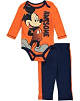 """Mickey Mouse Baby Boys' """"Awesome Mickey"""" 2-Piece Outfit - orange"""