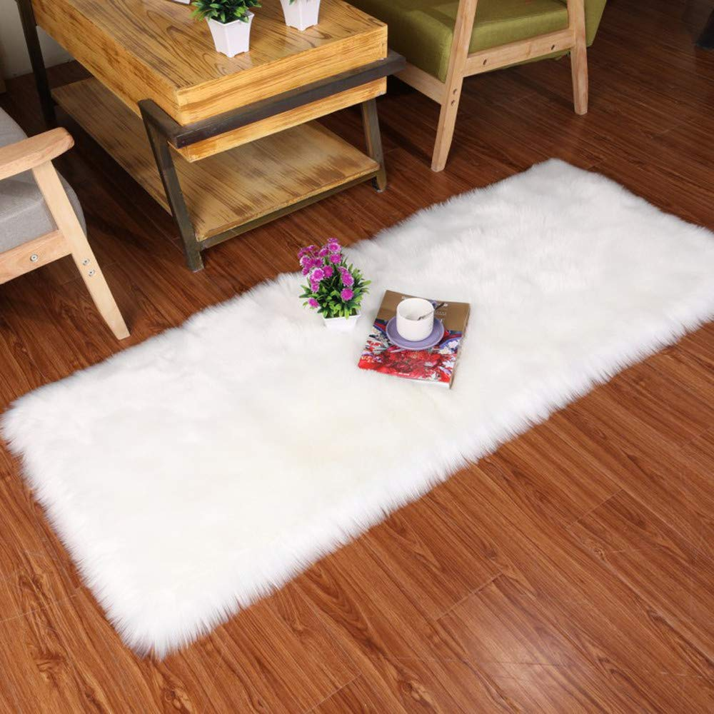 Clearance Indoor Wool Fluffy Rug Areas Mats Doormats, Iuhan Soft Rug Chair Cover Artificial Sheepskin Wool Warm Hairy Carpet Seat Mats Rug Home Floor Covers Pads Doormats (S:40x60CM)
