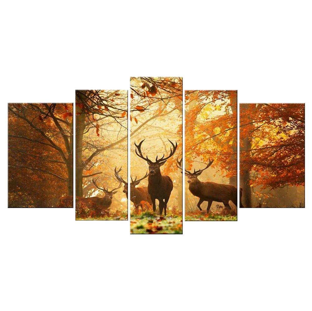 Amazon.com: 5 Panels Modern Painting Landscape Animal Prints on ...
