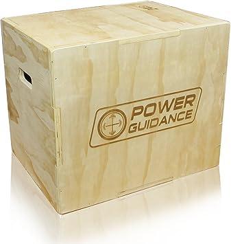 POWER GUIDANCE Caja 3 en 1 Madera Plyo – Ideal para crosstraining – 76 cm/61 cm/51 cm, 61 cm/50 cm/46 cm, 40 cm/35,5 cm/30,5 cm – madera pliométrico salto caja, Plyobox, 20/24/30: Amazon.es: Deportes y aire libre