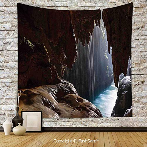 FashSam Polyester Tapestry Wall Cathedral Cove at Sunrise with Horizon Inside The Hollow Dramatical Coastline Hanging Printed Home Decor(W59xL90)]()