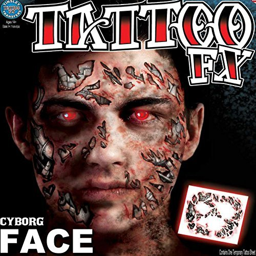 Tinsley Transfers Cyborg Face Temporary Tattoo FX Face Kit by Tinsley Transfers (Cyborg Tattoo)