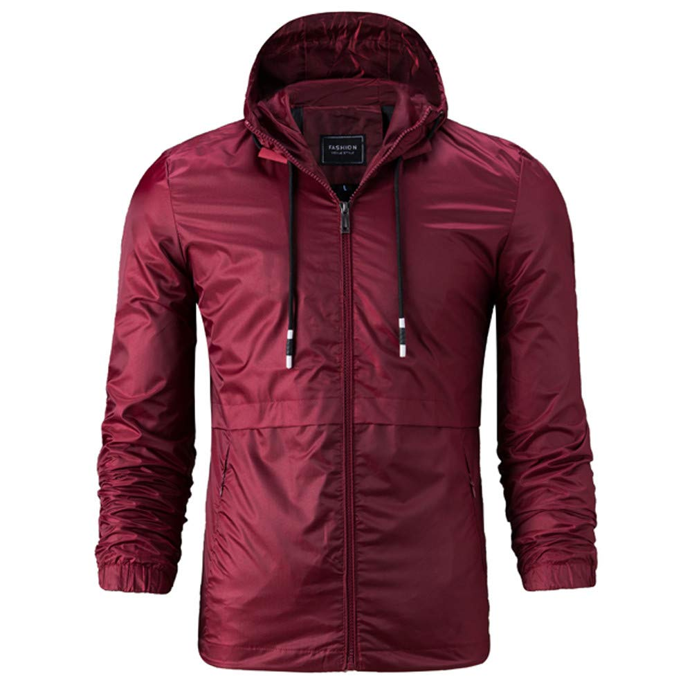 iLXHD Fashion Mens Pullover Hooded Waterproof Lightweight Windbreaker Jackets XMM-95