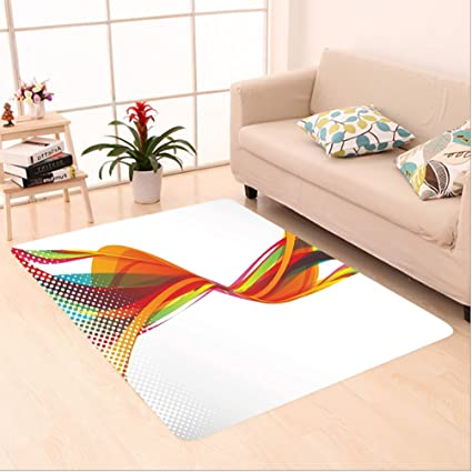 Amazon Com Nalahome Custom Carpet Ract Decor Rainbow Curved Wave
