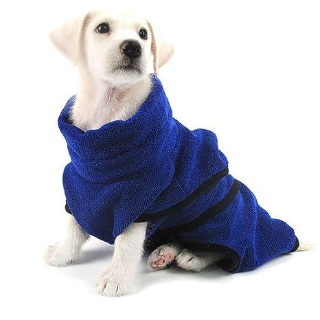 QNMM Perro Albornoz Toalla Secado rápido Perro Gato Bata de baño Microfibra Pesada Toalla de baño