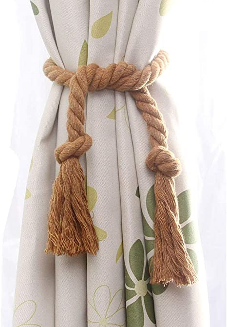 Melaluxe 4 Pack Natural Cotton Curtain Rope Cord With Vintage Style Curtain String Tying Lace Drapery Tieback Coffee Home Kitchen