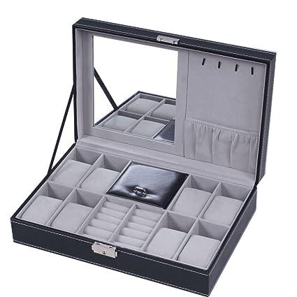 BASTUO Jewelry Box 8 Watch Display Case Organizer Jewelry Storage Box Black  PU Leather With Mirror