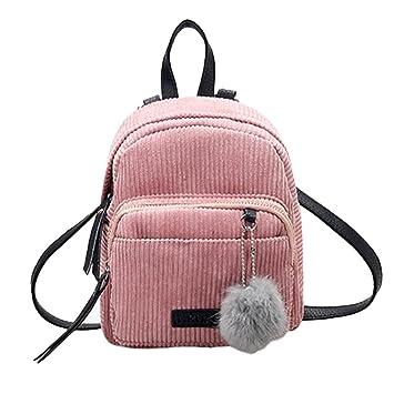 Mochilas Mujer Bolsa de viaje Bolsa de hombro Bolso pequeño de Corduroy LMMVP (24cm*20cm*10cm, Rosado): Amazon.es: Hogar