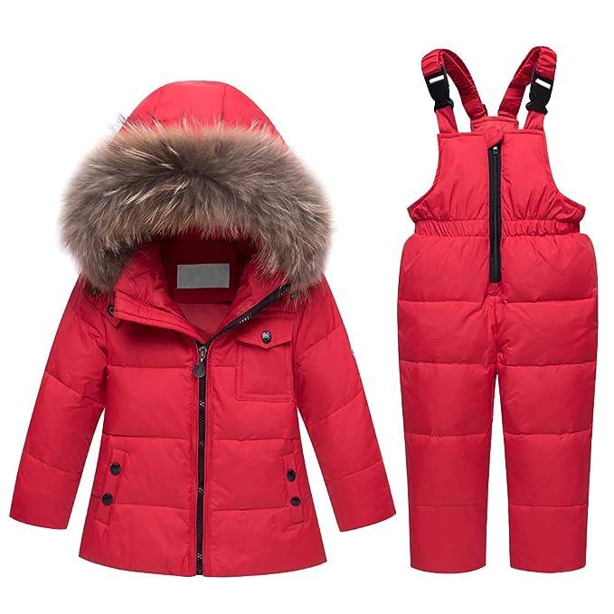 JINZFJG Chaqueta de Esquí para Bebé Niños Conjunto 2 Piezas Abrigo con Capucha + Pantalones de