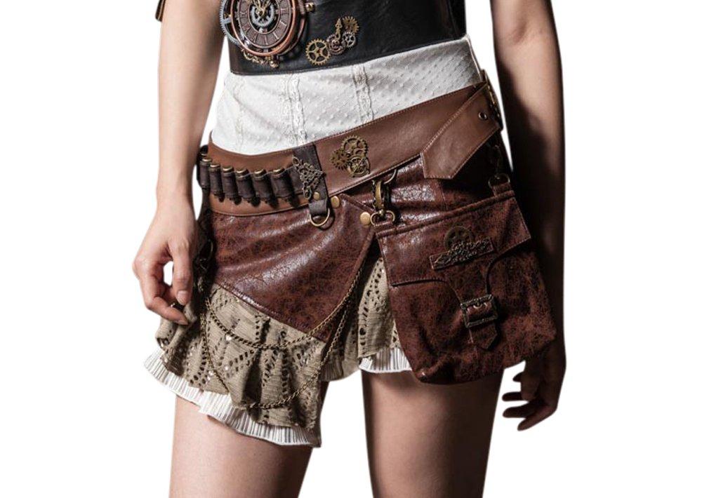 HaoLin Steampunk VTG Victorian Punk Cincher Lace up Rivet Pocket Shoolgirl Mini Skirt