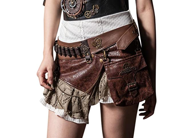 Steampunk Skirts | Bustle Skirts, Lace Skirts, Ruffle Skirts Steampunk VTG Victorian Punk Cincher Lace Up Rivet Pocket Shoolgirl Mini Skirt $49.49 AT vintagedancer.com